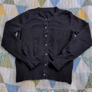 Cardigan with Clear Buttons, XS, Black